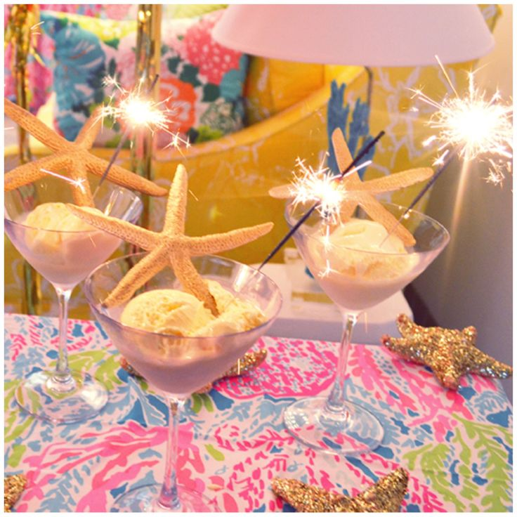 Lilly Pulitzer table linen with ice cream dishes, starfish and sparklers