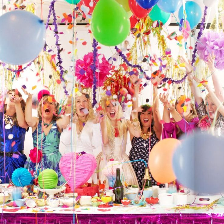 bridal shower with balloons, confetti and girls in Lilly Pulitzer dresses