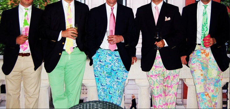 men and groomsmen in Lilly Pulitzer pants