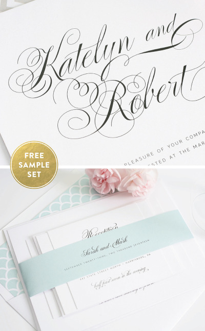 light blue and white wedding invitations