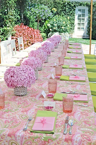 pink and green wedding reception table inspired by lilly pulitzer