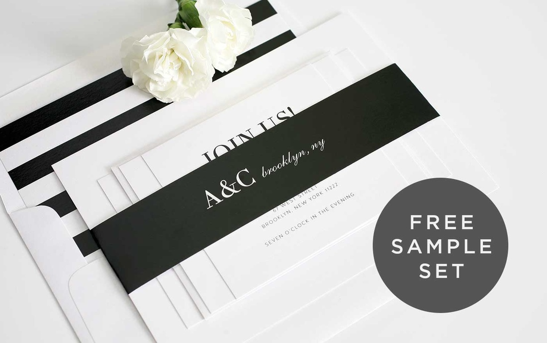 black and white striped wedding invitation liner