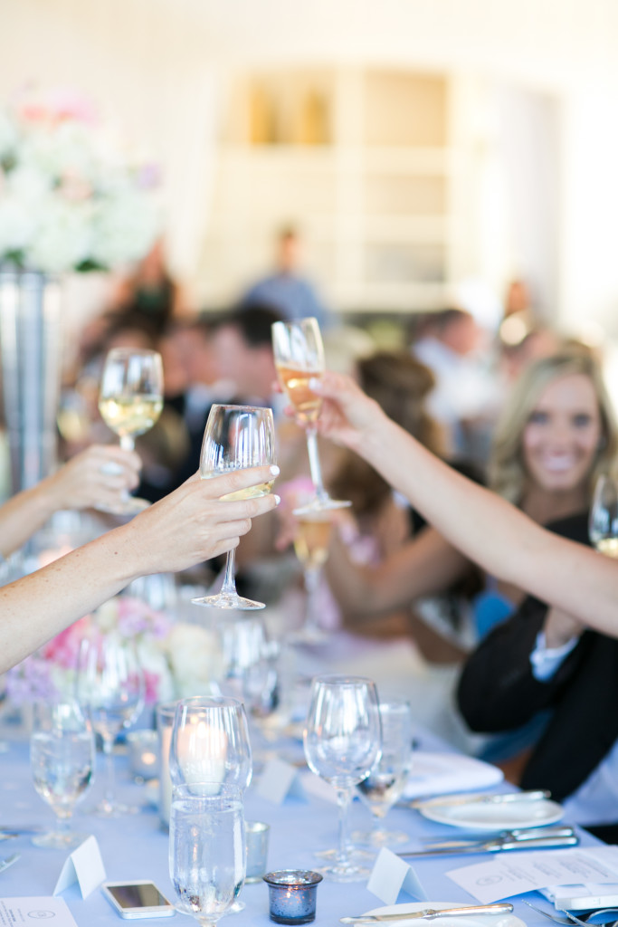 champagne wedding toast at a formal wedding