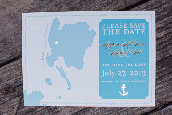 blue custm save the date cards