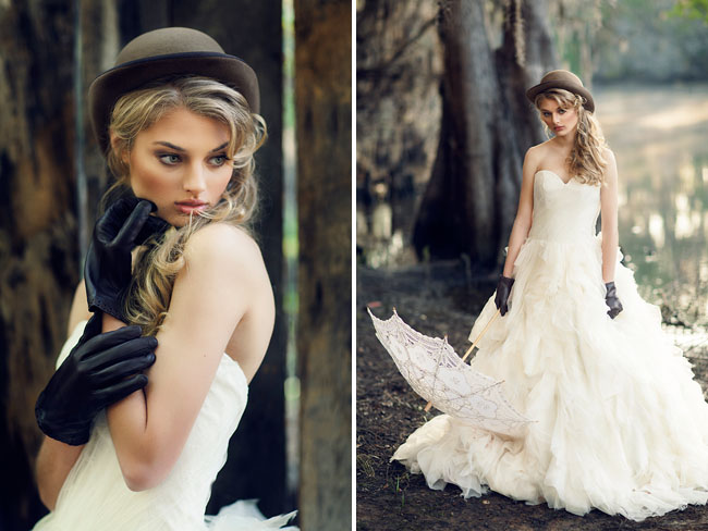 bride outside in ballgown dress, fedora hat and leather gloves