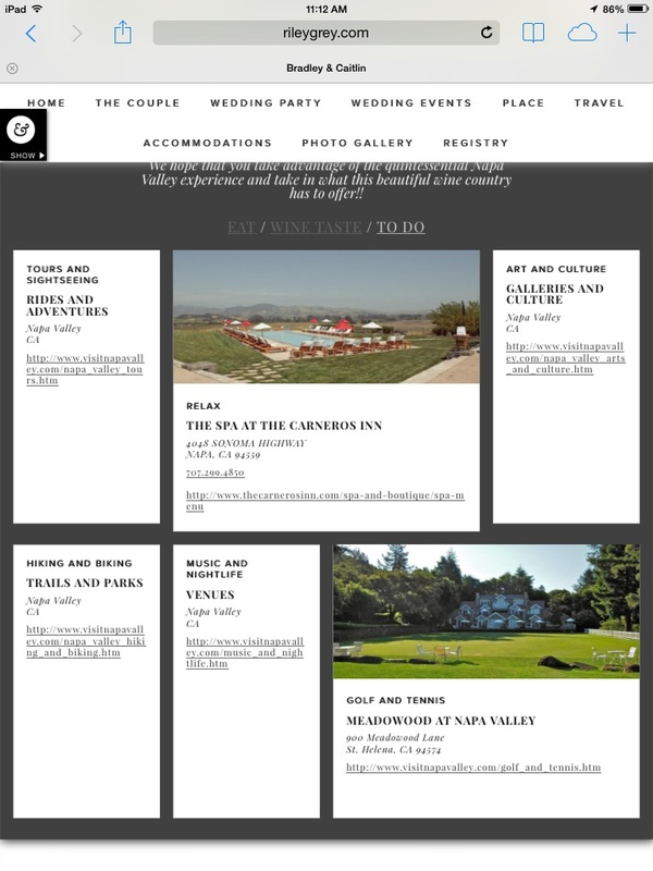 wedding website things to do