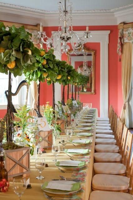 old mony home with dining room decorated with lemon trees