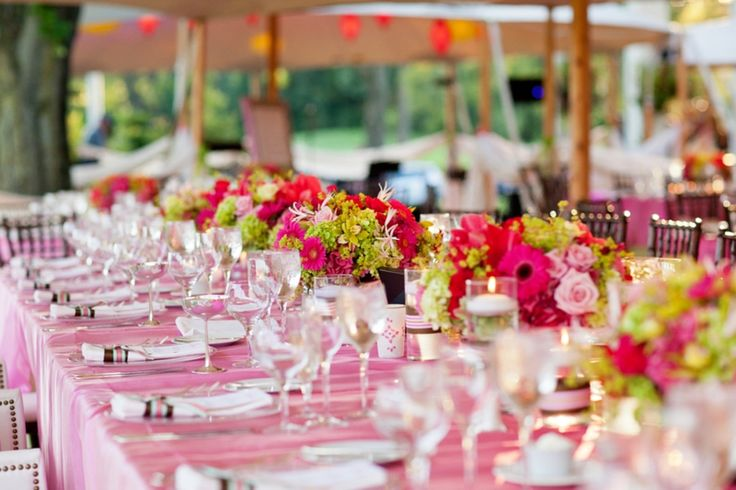 pink and green wedding reception