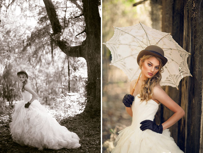 bride holding princess ballgown and posing with parasol, fedora and leather gloves