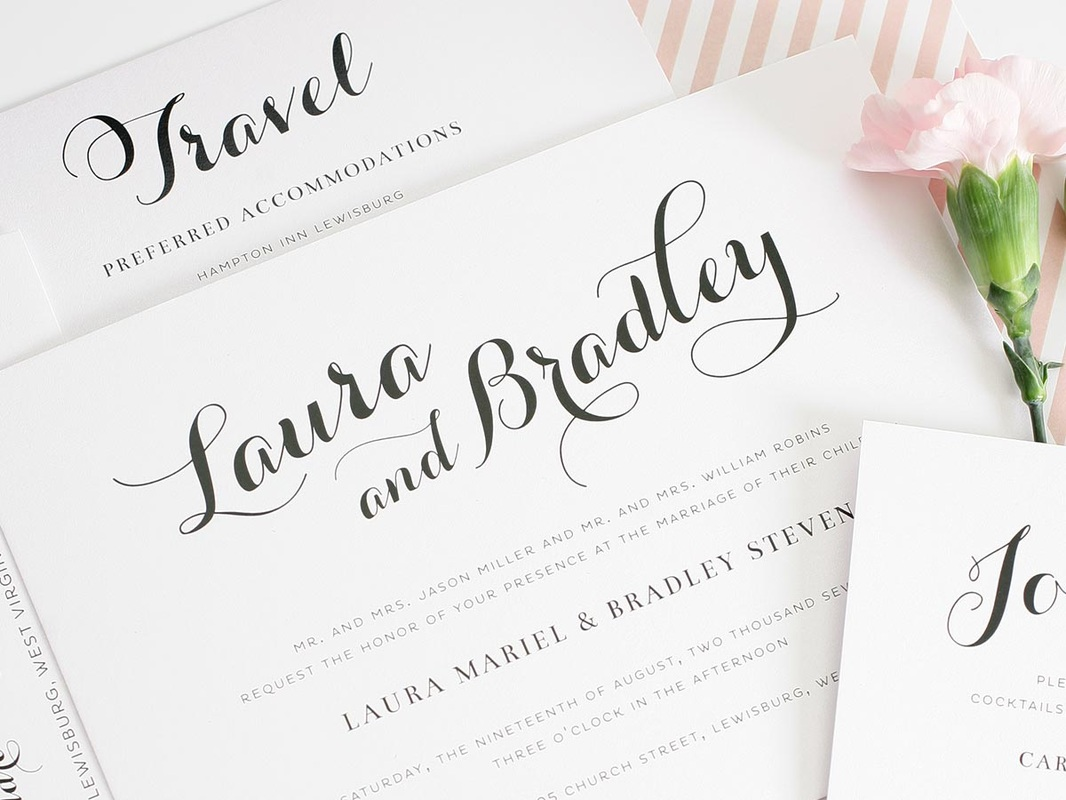 pink and white striped wedding invitation liner