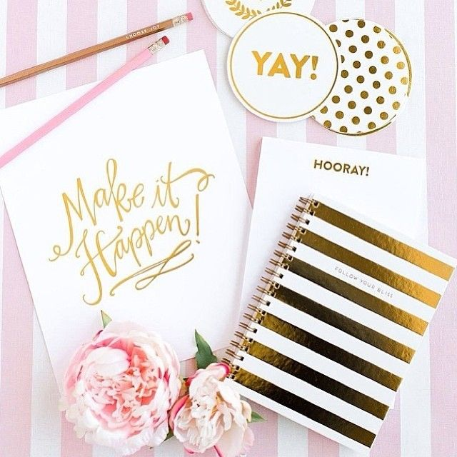 gold striped notebook and pink peonies