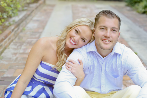 engagement photo, girl in striped dress and guy in blue dress shirt