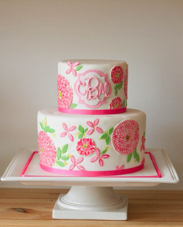white wedding cake with Lilly Pulitzer pink floral iconic print