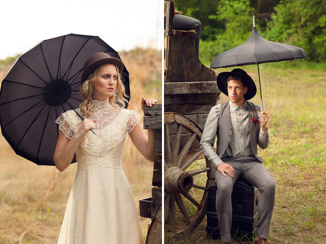 vintage dress with lace neckline and open black parasol