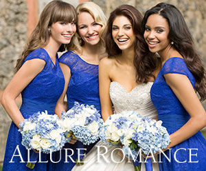 Allure Bridal Bridesmaids in blue dresses
