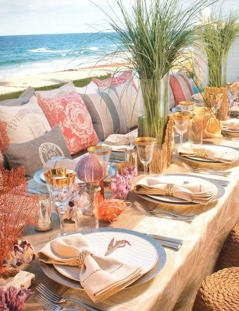 beachside dinner venue with pillows