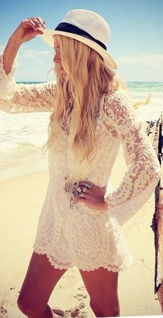 fedora with white lace beach dress