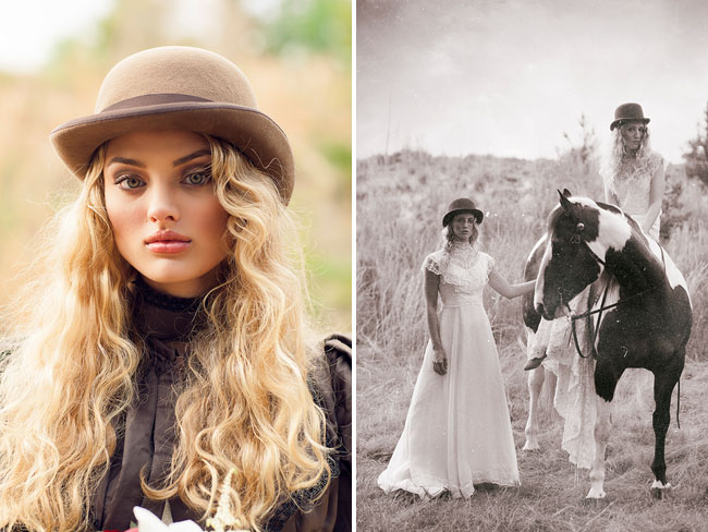 beautiful bride in leather jacket and fedora and bridesmaids next to horse
