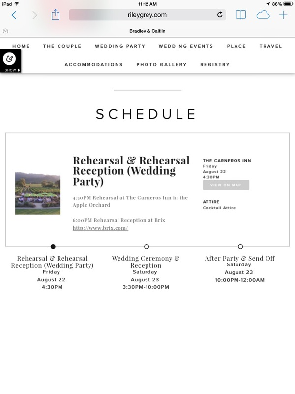 schedule page on wedding website features wedding events: rehearsal and rehearsal dinner