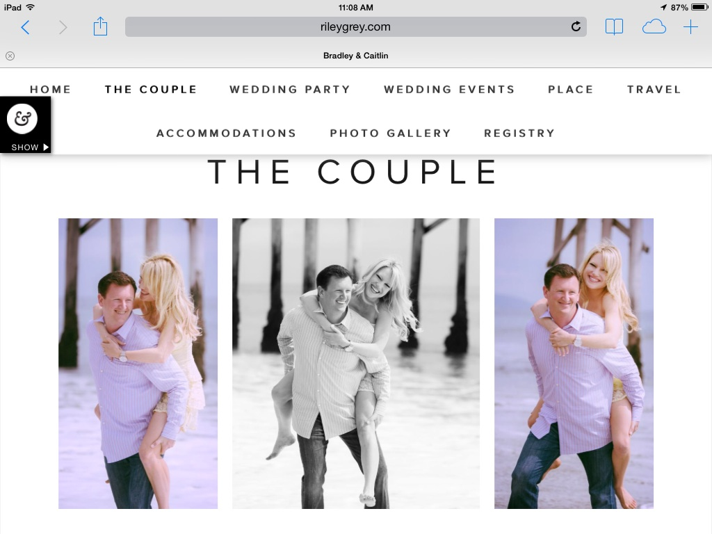 wedding website screenshot of The Couple page and three images of guy giving fiance a piggy-back ride on the beach