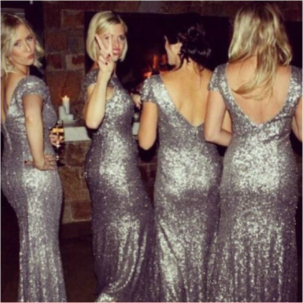 bridesmaids in silver sequin long dresses