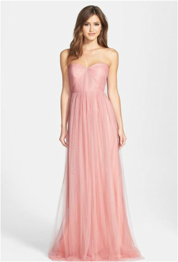 pink long strapless bridesmaid dress