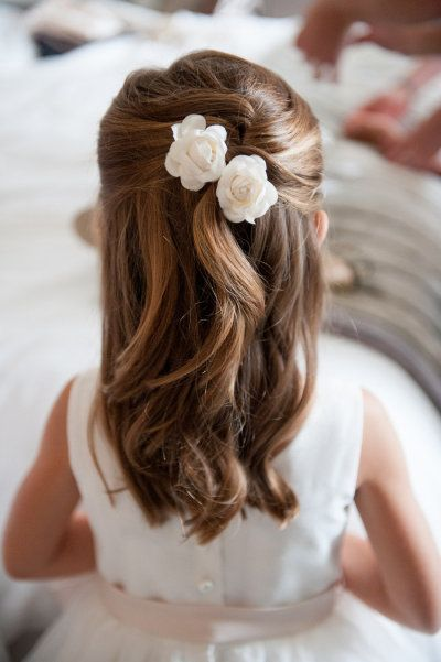 flower girl wedding hair half up do with curls and white flowers