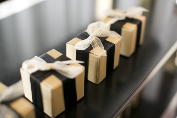 wedding gold gift boxes with black ribbon
