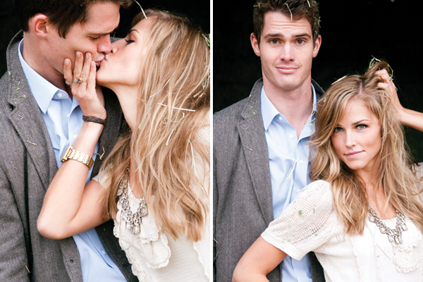 couple kiss and make a funny face during their engagement session