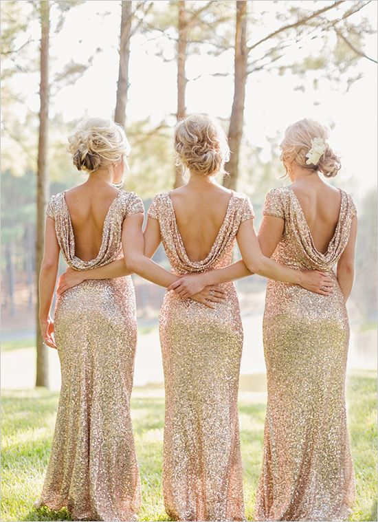 backs of bridesmaids in gold sequin long Badgley Mischka dresses