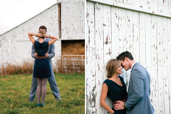 couple outside of a barn in formal attire