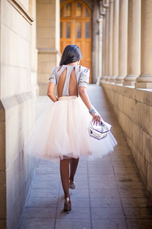girl in keyhole top and huge tulle skirt