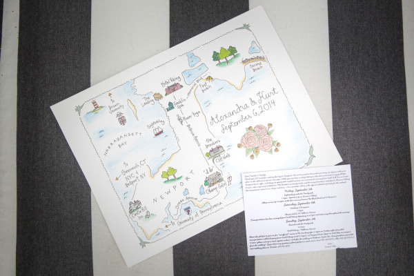 drawing of map on wedding invitations