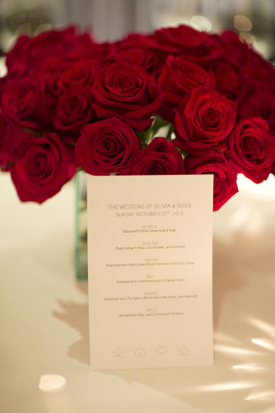 red roses and simple wedding invitations