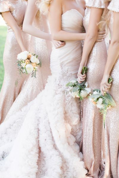 bride standing next to bridesmaids in nude sequin long bridesmaid dresses