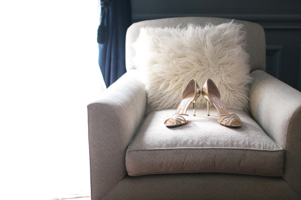 Jimmy Choo wedding shoes on white chair