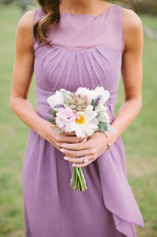 bridesmaid i short light purple dress with sheer illusion top