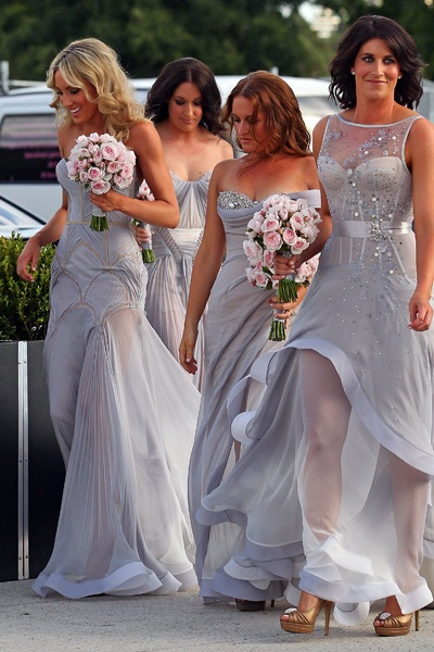 dusty blue bridesmaid dresses with sheer illusion tops and skirt