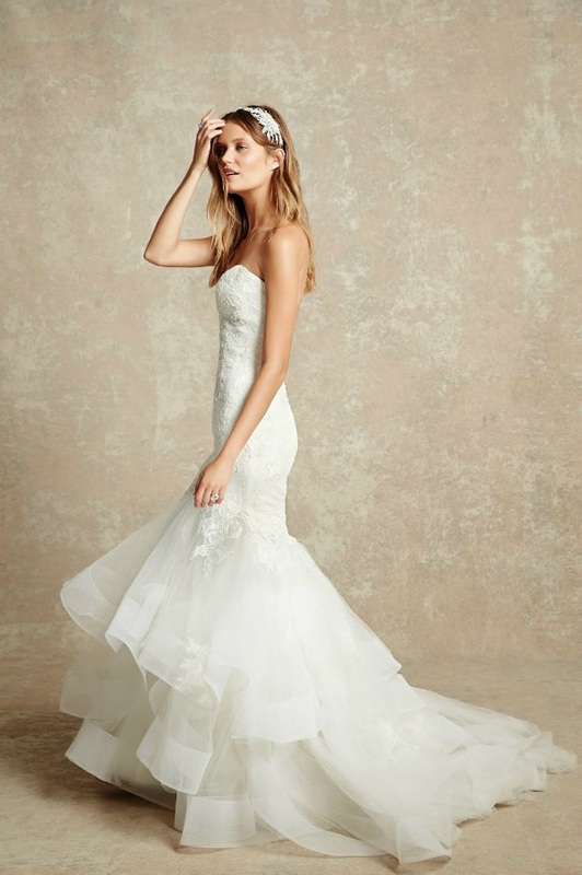 Monique Lhuillier strapless mermaid wedding dress with layers of tulle
