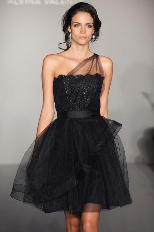 black short bridesmaid dress with tulle