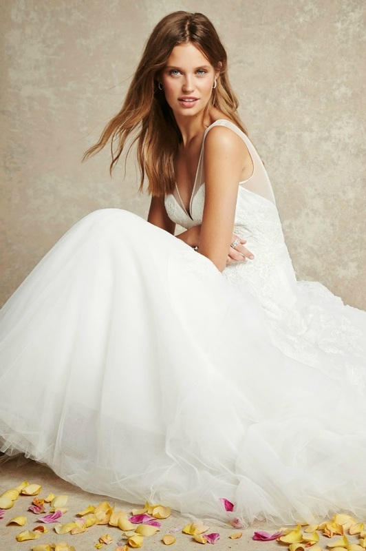 Monique Lhuillier wedding dress with sheer illusion neckline
