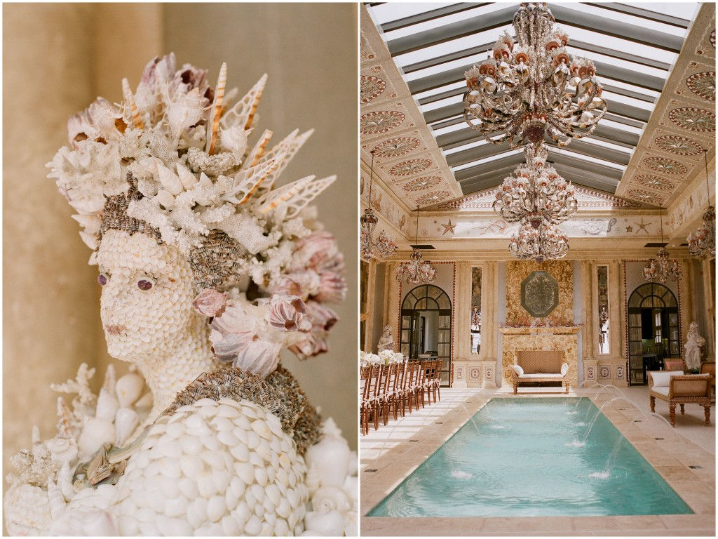 person made of seashells and indoor pool room with chandeliers