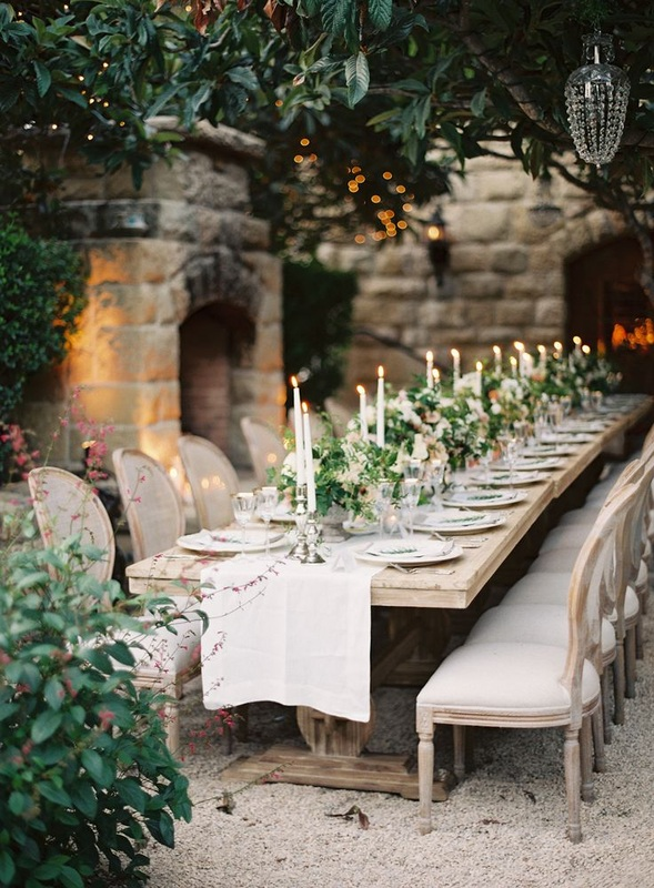 Intimate wedding, upscale rustic table setting