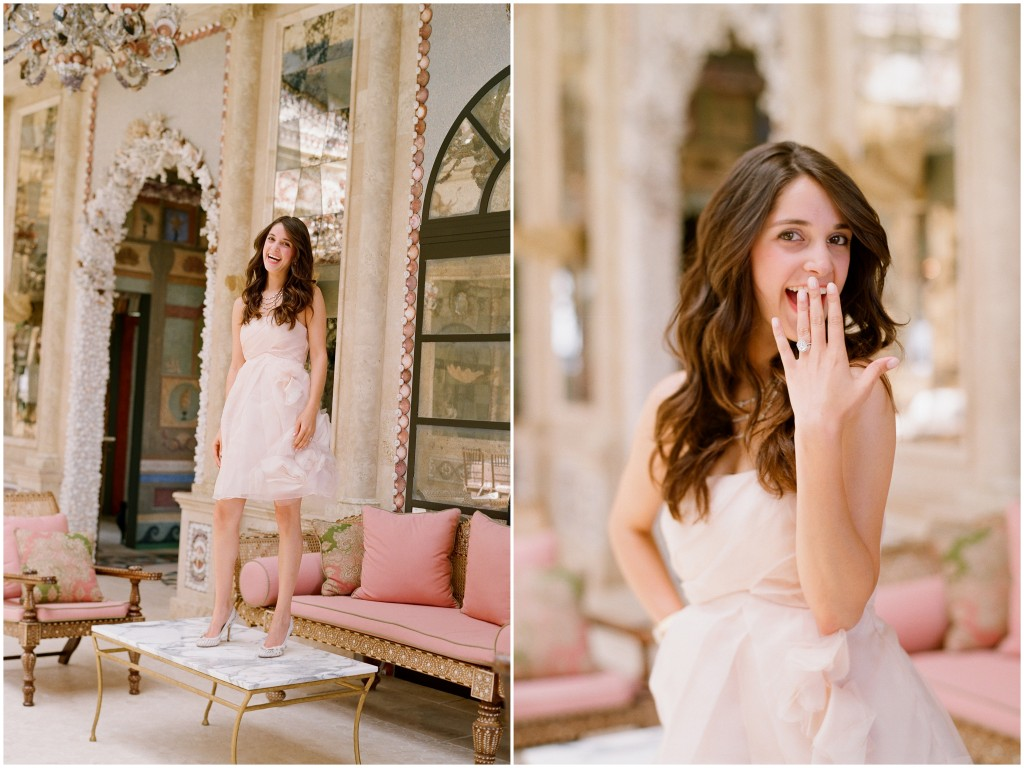 bride-to-be in blush tulle dress