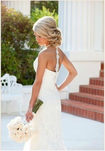 bridal low up-do, side up-do in curls