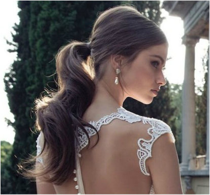 low ponytail bridal hairstyle