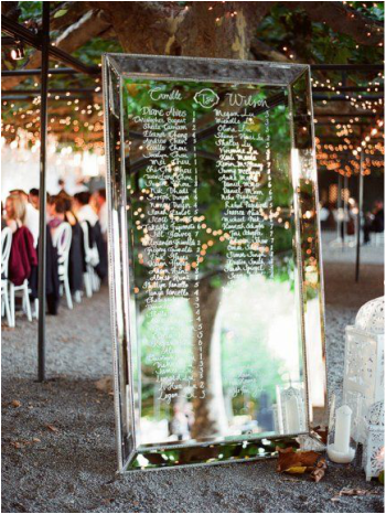 wedding seating chart written on floor mirror