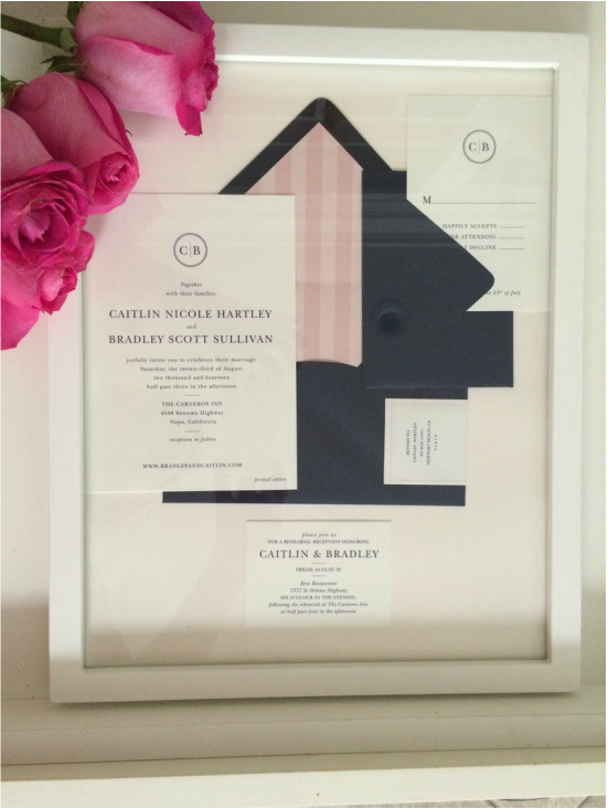 Frame your wedding invitations it girl weddings wedding invitation suite styled in picture fame and pink roses framed wedding invitations solutioingenieria Choice Image
