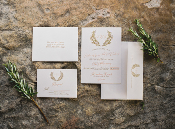 white wedding invitations with gold branches