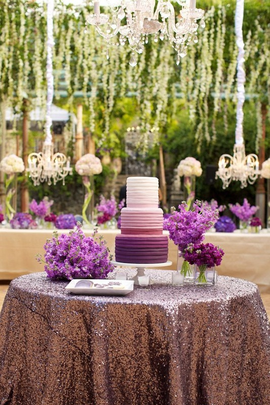 purple sequin wedding linens, ombre purple cake